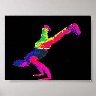 Baile de la calle - multicolor, parte posterior de póster