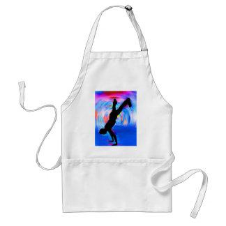 Baile de la calle, silueta, azules/rojos/sombras r delantal