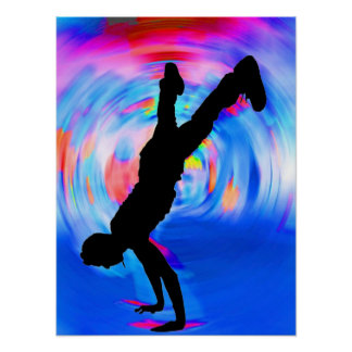 Baile de la calle, silueta, azules/rojos/sombras r póster
