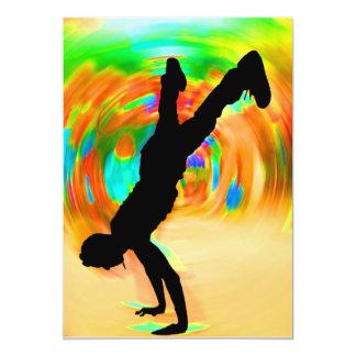 "Baile de la calle, silueta, invitación 5"" x 7"""