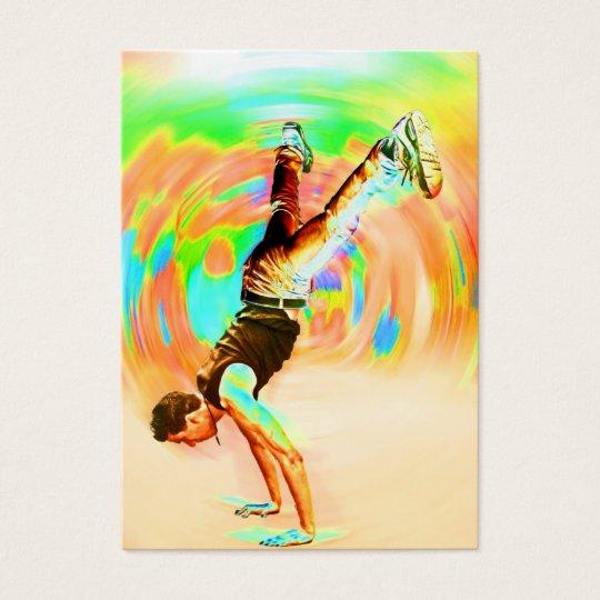 Baile de la calle, verde/amarillos/naranjas, tarjetas de visita grandes