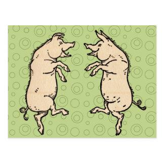 Baile de los cerdos del vintage postales