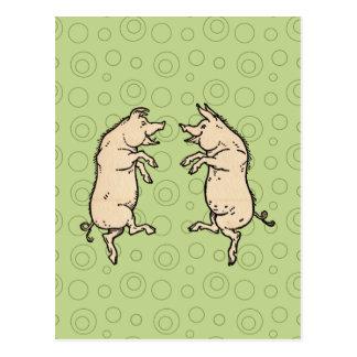 Baile de los cerdos del vintage postal