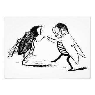 Baile de los insectos del vintage Mosca del Blueb Invitaciones Personalizada