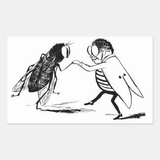Baile de los insectos del vintage; Mosca del Pegatina Rectangular