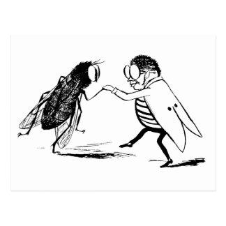 Baile de los insectos del vintage; Mosca del Postal