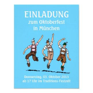 """Baile de los Lederhosen de Oktoberfest de la Invitación 4.25"""" X 5.5"""""""