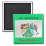 Baile de nueve señoras imán de nevera