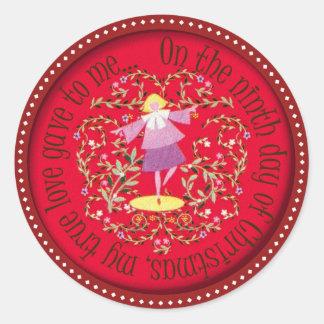 Baile de nueve señoras pegatina redonda