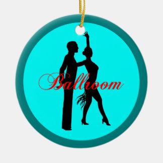 Baile de salón de baile adorno navideño redondo de cerámica