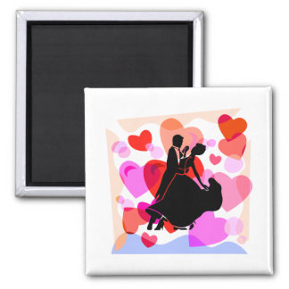 Baile de salón de baile de los corazones imán cuadrado