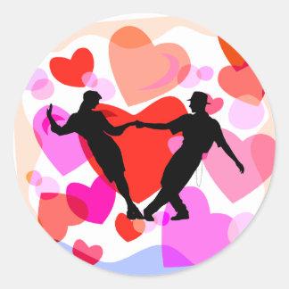 Baile de salón de baile de los corazones pegatinas redondas