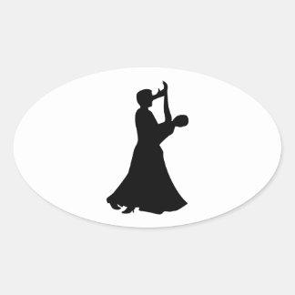 Baile de salón de baile pegatina de oval