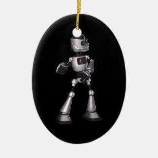 baile de semitono del individuo del robot de la adorno navideño ovalado de cerámica