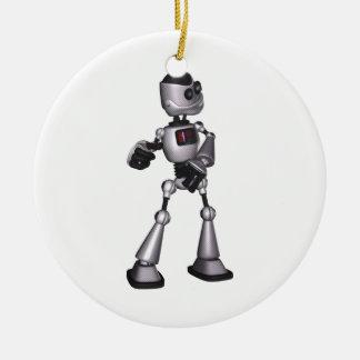 baile de semitono del individuo del robot de la adorno navideño redondo de cerámica