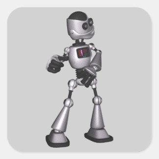 baile de semitono del individuo del robot de la pegatina cuadrada