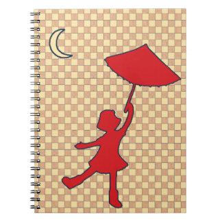 Baile del chica con su paraguas libretas espirales