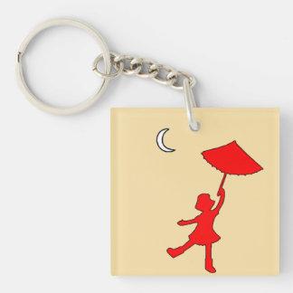 Baile del chica con su paraguas llavero cuadrado acrílico a doble cara
