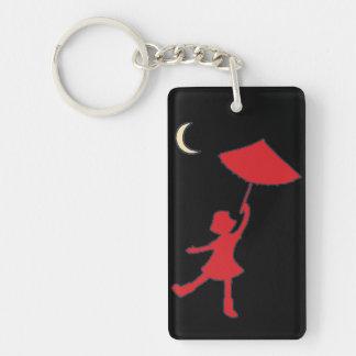 Baile del chica con su paraguas llavero rectangular acrílico a una cara