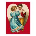 Baile del muchacho y del chica tarjetas postales