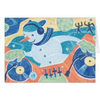 Baile del navidad de DJ del muñeco de nieve Tarjeta De Felicitación