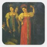 Baile del violinista y de tres mujeres pegatinas cuadradases personalizadas