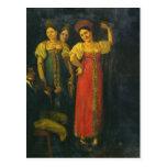 Baile del violinista y de tres mujeres tarjeta postal
