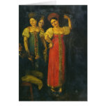 Baile del violinista y de tres mujeres tarjetón