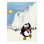 Baile divertido del pingüino del dibujo animado tarjetas postales
