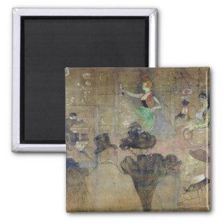Baile en el colorete: La Goulue, 1895 Imán Cuadrado