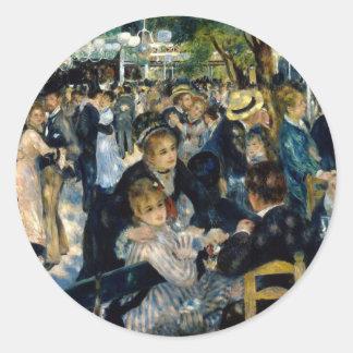 Baile en el la Galette de Le Moulin de por Renoir Pegatina Redonda