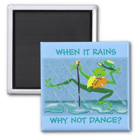 Baile en la lluvia imán cuadrado