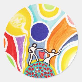 Baile en rayos de luna etiquetas redondas