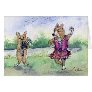 Baile escocés del perro del Corgi Galés Felicitaciones