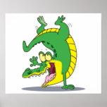 baile feliz del dibujo animado del cocodrilo del c póster