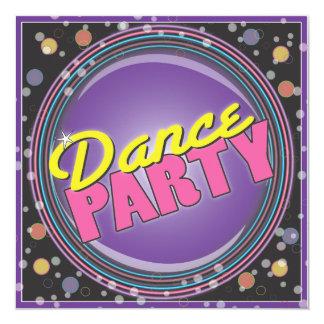 ¡Baile! Invitación de neón de la celebración Invitación 13,3 Cm X 13,3cm