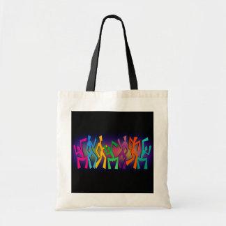Baile moderno alegre de los bailarines de la cader bolsas lienzo