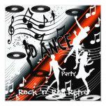 Baile retro del rock-and-roll de la invitación invitación 13,3 cm x 13,3cm