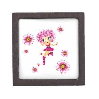 Baile rosado lindo del chica de Chibi del dibujo Cajas De Recuerdo De Calidad