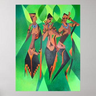 Baile tradicional étnico de tres mujeres negras póster