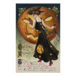 Baile y calabaza de Halloween GreetingWitch Póster