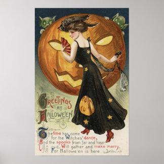 Baile y calabaza de Halloween GreetingWitch Póster