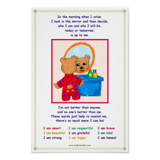 Bailey Bear Character Traits for Kids Poster