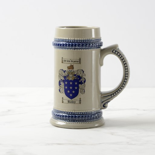Bailey Coat of Arms Stein / Bailey Family Crest Coffee Mug