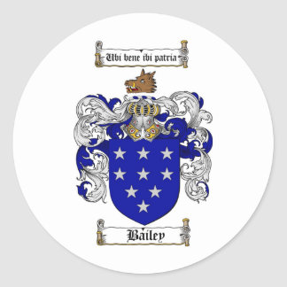 BAILEY FAMILY CREST -  BAILEY COAT OF ARMS CLASSIC ROUND STICKER