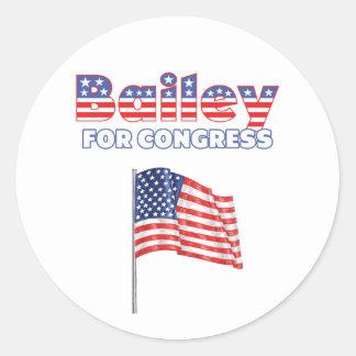 Bailey for Congress Patriotic American Flag Design Classic Round Sticker