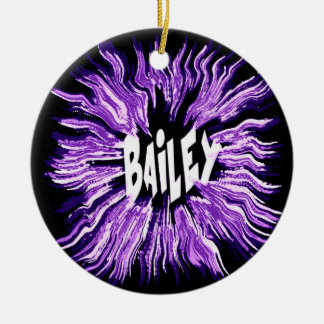 Bailey Name Star in Purple Double-Sided Ceramic Round Christmas Ornament