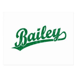 Bailey script logo in green postcard
