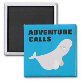 Bailey the Beluga Whale 2 Inch Square Magnet