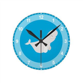 Bailey the Beluga Whale Round Clock